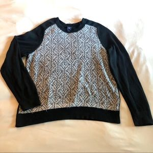 GAP black and white mohair paneled sweater